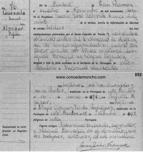 Figura 2. Acta de matrimonio de Manuel Quesada Bastos y Perfecta Alpízar Rodríguez (IJSUD 2012)