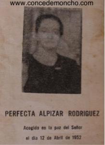 Figura 8. Recuerdo de la partida de Perfecta Alpízar Rodríguez (Quesada Alpízar 2015)